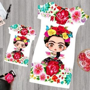 Frida Kahlo Floral Mini Dress Bodycon Stretchable